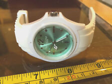 Identity London White Watch New Wristwatch Rubber Strap Light Green Dial