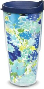 Tervis Fiesta Meadow Floral Insulated Tumbler with Blue Lid, 24 oz []
