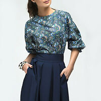 Women High Waist Floral Casual Party Evening Cocktail Retro A-line Pleated Dress