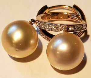 Golden South Sea 10mm Pearl and Diamond accent Earrings with Hinged Hoops, 5g