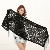 10 Colors Floral Velvet Scarf Women Burnout Shawl Wrap Winter Euro Poncho Lady