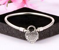 Steriling Silver Bracelet Regal Love Heart Clasp Snake Chain Bracelet For Charms