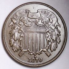 1870 Two Cent Piece CHOICE AU+ FREE SHIPPING E496 APM