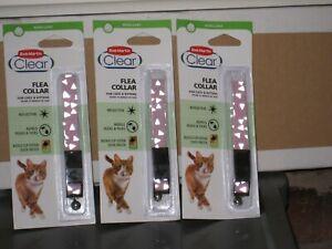 3 x Bob Martin Clear Flea Collar For Cats Reflective pink