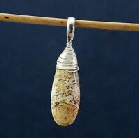 Picture Jasper Gemstone Women's Wear Pendant Solid 925 Sterling Silver Jewelry