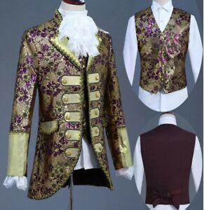 Mens Suits Jackets+Pants+Vests Tuxedo National Costume Europe Style Formal Retro