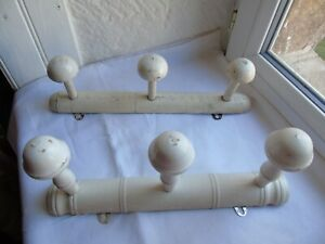 French 2 of 3 knobs wood hooks wall hanging coat hat  vintage