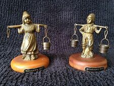 Vintage Belgique 1945 Figurines of Dutch Boy & Girl Carrying Milk/ Water Buckets