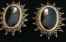 ST JOHN COLLECTION..DESIGNER JEWELRY..EARRINGS..CLIP-ON..BLACK/GOLD TONE New