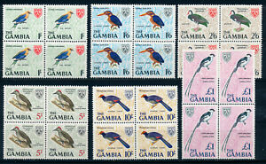 GAMBIA 1966 DEFINITIVES SG240/245 (HIGH VALUES) BLOCKS OF 4 MNH