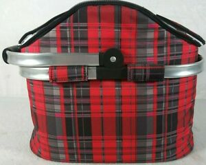Picnic Basket 12x13x16  Red Plaid Camping Outdoor Bag Portable Lunch Cooler