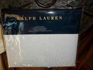 NIP Ralph Lauren Indigo Montauk Westlake Chambray Cream Queen Flat Sheet