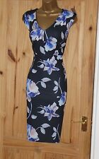 Navy floral stretch galaxy pencil wiggle evening party dress size 10