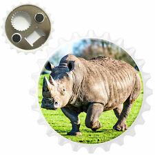Dirty White Rhino Bottle Opener Fridge Magnet