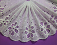 LOT 5 Yards Embroidery Holes Cotton White Lace Trim For Sewing/Craft Wide 20 CM