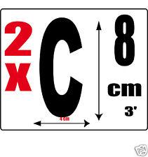 lot 2 lettres [C] Sticker autocollant noir hauteur 8cm Lettre adhésive en vinyle