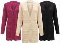 Women Ladies Knitted 2 Button Boyfriend Cardigan Top Plus Aztec Print