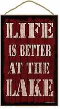 "Red Life Is Better At The Lake Camping Sign Plaque 10""X16"""