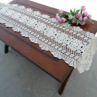 Cotton Handmade Table Runner Crochet Lace Coffee Table Cover Party Wedding Doily