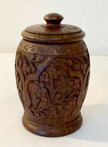 VINTAGE INDIAN CARVED WOOD TEA CADDY TRINKET JAR  BOX 5 INS TALL