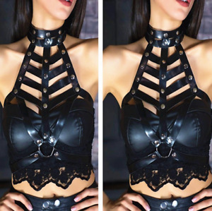 Women Sexy Faux Leather Chest Harness Bra Body Cage Belt Punk Waist Straps HOT