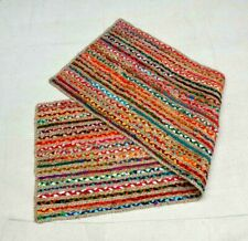 Home Decoration multi jute Braided hand loom bed side Runner Handmade Rag Rug,