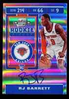 RJ Barrett 2019 Contenders Optic Rookie Ticket Silver Prizm Auto Knicks RC Holo