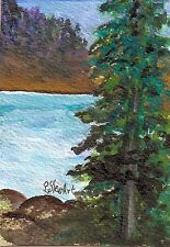 ACEO Landscape Mountain Lake Rocks Evergreen Trees #Painting Penny Lee StewArt