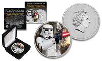 2018 Niue 1 oz Silver BU Star Wars STORMTROOPER Coin with ENDOR BATTLE Backdrop