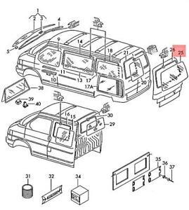 Genuine Volkswagen Rear Window Part Matt NOS VW Eurovan Transporter 703845503