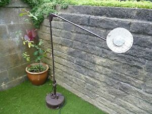 LARGE VINTAGE 1950'S FLOOR STANDING INDUSTRIAL ARTICULATED ANGLE POISE MAP LAMP