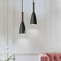 2X Black Pendant Lighting Kitchen Lamp Bedroom Pendant Light Wood Ceiling Lights