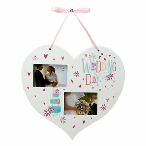 Wedding Day Photo Frame Hanging Heart Shape White Wood BE158WD
