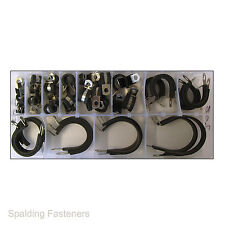 52 Assorted Metric A2 Stainless Steel Black Rubber Lined P Clips