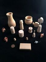 Lot Of Unfinished Misc Wood Arts & Craft Pieces, 16 pc lot, bean pot, churns