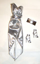 Barbie Fashion Outfit Silver Dress For Model Muse Barbie Doll cs01