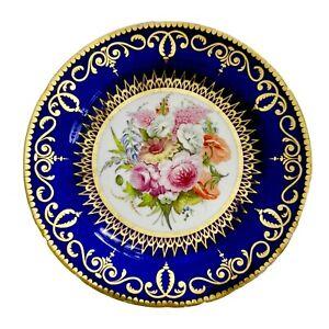 Coalport John Rose plate, cobalt blue, flowers poss. by Thomas Baxter, ca 1805