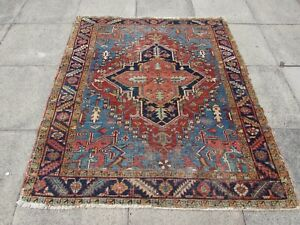 Antique Worn Traditional Hand Made Vintage Oriental Wool Red Blue Rug 177x151cm