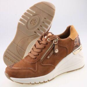 0442-Dockers Damen Keil Sneaker Halbschuhe Gr 37 Braun Wedge Plateau