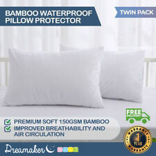 Dreamaker Bamboo Terry Waterproof Pillow Protector White 40*60 15cm 2 Pack