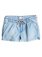 Roxy Girls Just A Habit Denim Shorts Light Blue Sz 10/M ERGDS03023