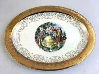 Vintage SABINE Crest-O-Gold 22K Gold Gilt Colonial Oval Serving Platter