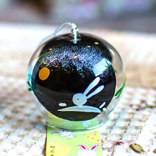 2 pcs JAPANESE Traditional Culture Glass Furin Wind Bell Chime black rabbit
