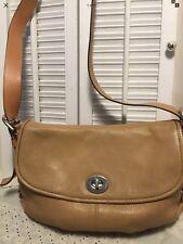 Coach Authentic Legacy Flap Duffle Turn Lock Pebbled Leather Shoulder Handbag