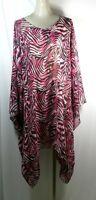 Plus size poncho style top/tunic, animal print,black/white/pink, size1X-2X,3X-4X