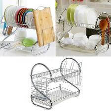 2 Tier Stainless Steel Kitchen Dish Cup Drying Rack Holder Sink Drainer Dryer