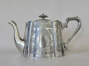 Walker & Hall EPBM Teapot, Hand Chased Silver Plated Antique Teapot, Britannia