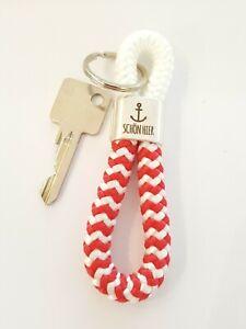 Schlüsselanhänger, Segelseil maritim, Anker schön hier, rot weiß handmade