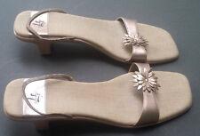 Life Stride Sandals Geta heel Gold Leather Shoes Elastic Slingbacks 10