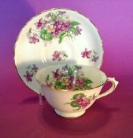 Tuscan Pedestal Cup And Saucer - Purple Violets And White Crocus - England